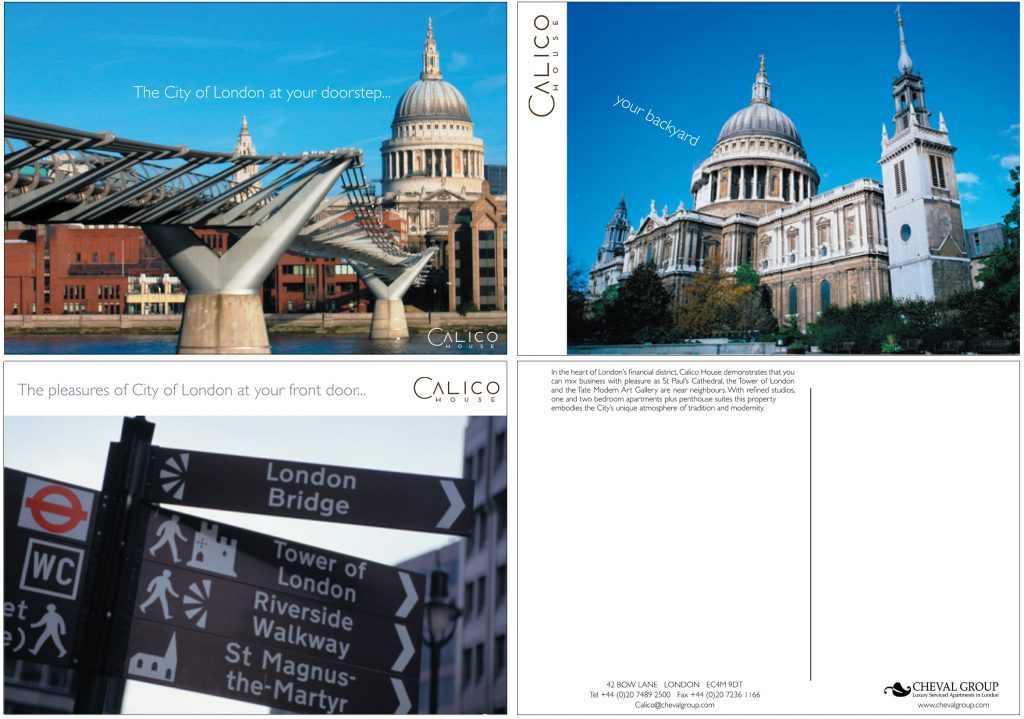 Boutique Hotel marketing Postcards