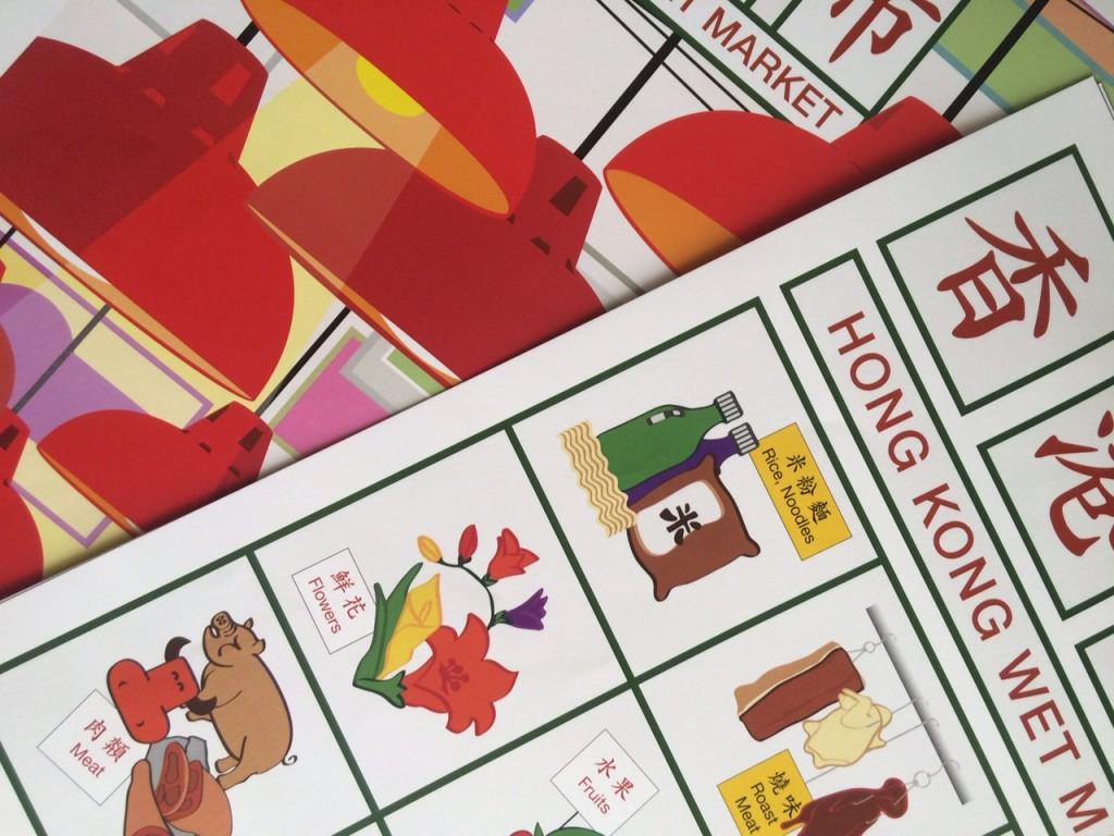 Hong Kong Market Posters digital print draft